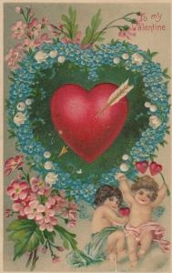 TO MY VALENTINE, 1900-10s; Cupids, heart with arrow surrounded by blue flowers