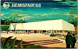 HEMISFAIR '68 San Antonio Expo Postcard U.S. Exhibit Pavilion Artist's View