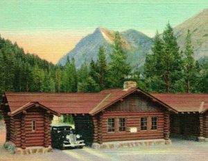 Vtg Lin Carte Postale Cooke Entrée Yellowstone National Park Wy Haynes Unp
