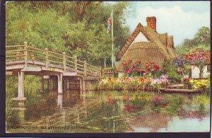 P1403 1968 used water color art postcard flatford bridge & cottage england