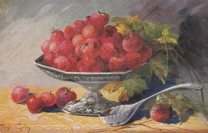 AS: MARY GOLAY, PU-1908; Still Life, Bowl of Strawberries