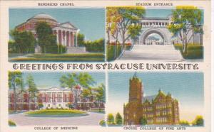New York Greetings From Syracuse University Multi View 1950