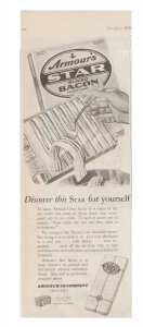 Armour's Star Bacon 1927 Print Ad, Hand & Fork Removing a Slice of Raw Bacon
