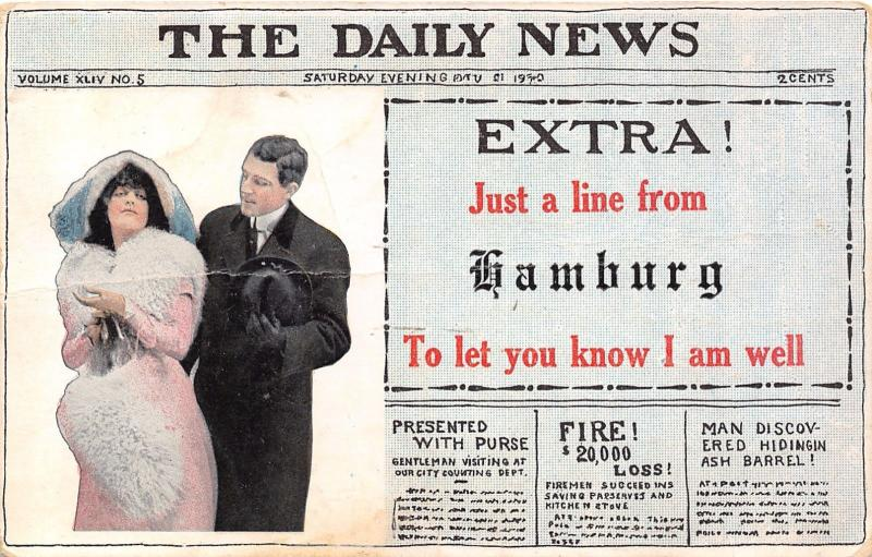Extra! Just a Line From Hamburg Wisconsin~Daily News~Newspaper Pennant PC