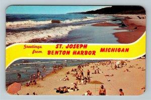 St Joseph MI- Michigan, Lake Michigan, Banner Greeting, Chrome Postcard