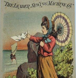 Leader Sewing Machine Co Girl Woman Umbrella Parasol Sailboat Ship Trade Card