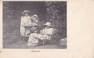 Harmony Children Passing Lamb Teddy Toy Reading Old Postcard