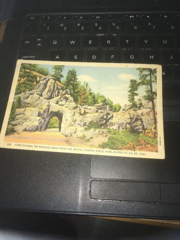 Vtg Postcard: First Tunnel, Needles rd , Custer State Park, Black Hills So. Dak.
