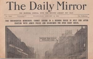 Daily Mirror Police Murderers Suicide Seige 1911 Reprint Newspaper