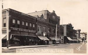 Albia Iowa~Clinton Street~Golden Eagle~Strasburger & VerVeer Dry Goods~1909 RPPC