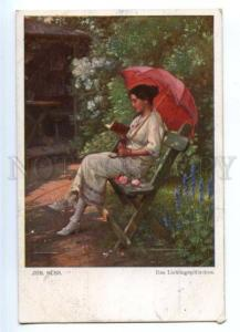 177970 Belle PARASOL Lady reading BOOK by SUSS Vintage PC