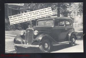 1934 CHEVROLET SUMNER IOWA VINTAGE CAR DEALER ADVERTISING POSTCARD