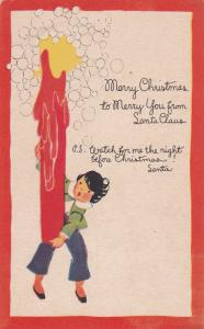 CHRISTMAS, 00-10s; Child Holding A Huge Candlelight