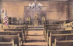 Vermont Plymouth Interior Of Union Church Albertype