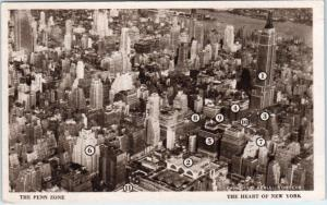 NEW YORK CITY, NY   Aerial THE PENN ZONE   Buildings Identified   Postcard