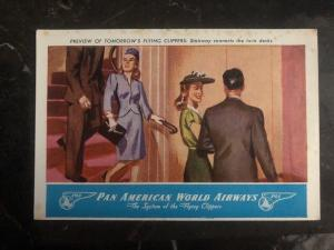 Mint USA Postcard Pan American Airways Preview Of Flying Clippers Stairway