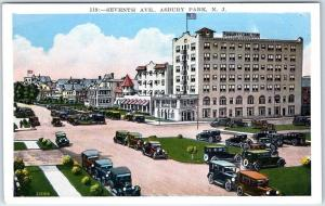 Asbury Park, New Jersey Postcard SEVENTH AVENUE Downtown Street Scene c1930s