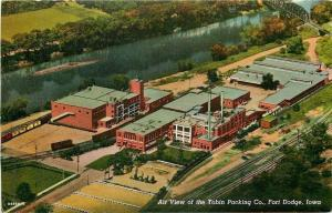 Fort Dodge Iowa~Tobin Packing Company Factory~Aerial View~1940 Linen Postcard