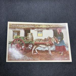 Irish Postcard JUST A LITTLE  IRISH COLLEEN Donkey Eva Brennan Valentine Ireland