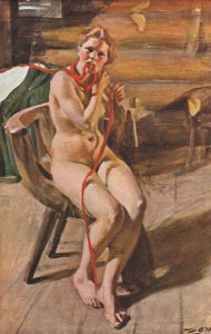 A. Zorn - Naked peasantess combing her hair , 00-10s (Nude Woman)