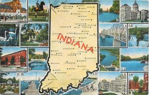 Linen Map Card of Indiana IN