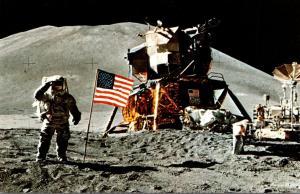 Florida John F Kennedy Space Center Austronaut Irwin Saluting Flag On Moon Su...