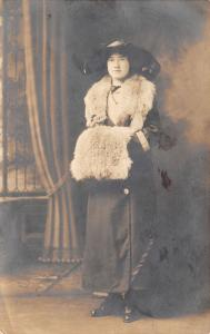 Gail~Your Old Friend~Not Good Picture~Merry Widow Hat~Fur Muff/Shawl 1911 RPPC