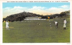 White Sulphur Springs West Virginia~Golf Course Green 1~Golfers in Knickers~1929