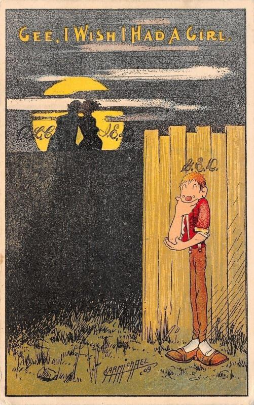 Carmichael~Gee I Wish I Had a Girl~Couple Silhouetted in Moon~Boy Behind Fence