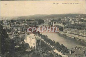 Old Postcard Perspective Epinal on the Moselle