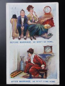 Fred Spurgin BEFORE MARRIAGE HE WON'T GO HOME - AFTER MARIAGE c1913