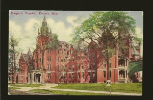 USA Postmark 1909 Detroit Mich Harpers Hospital Detroit Color Postcard