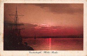 Turkey Constantinople Haidar Pascha Harbour Fishing Boats Panorama Postcard