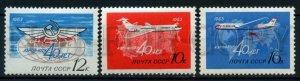 506156 USSR 1963 year Aeroflot anniversary lines planes stamp
