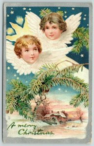 Christmas~Flying Winged Angel Faces~Pine Branch~Old Mill~Blue Star Night~TUCK