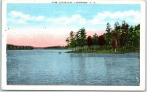 Lakewood, New Jersey Postcard LAKE CARASALJO Kropp Linen w/ 1938 NJ Cancel