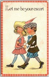 Vintage VALENTINE'S DAY Postcard Let me Be Your Escort  1914 IA Cancel