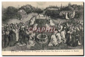 Old Postcard Ghent L & # & # 39Adoration of 39Agneau by the brothers Van Eyck...
