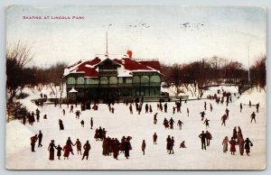 Chicago Illinois~Victorian Ladies & Gents Ice Skating @ Lincoln Park~1909 PC