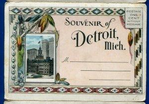 Detroit Michigan mi Grand Circus Park River Tunnel Central Sta postcard folder