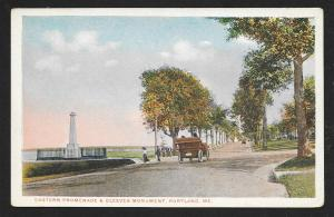 East Promenade Cleeves Monument Portland ME unused c1910's