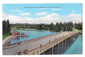 WY Yellowstone National Park Fishing Bridge Linen Postcard
