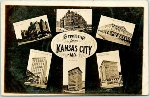 KANSAS CITY Missouri RPPC Real Photo Postcard w/ 6 Building Views / 1909 Cancel