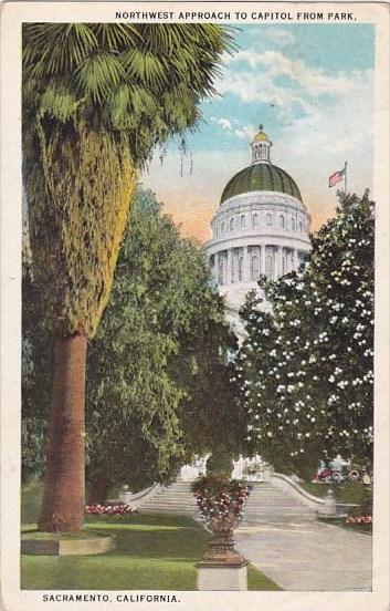 Northwest Approach To Capitol From Park Sacramento California 1925