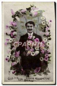 Postcard Old Man Fancy Flowers