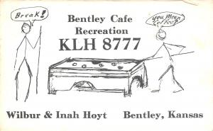 Bentley KS Hoyt Cafe and Rec Hall~Billiards~Pool-Playing Stick People QSL 1960s