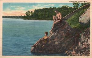 Arkansas Invites You, AR, Lake Hamilton, 1939 Linen Vintage Postcard f9739