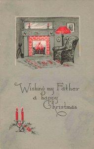 Circa 1921 Fireside Chair Wishing Father a Happy Christmas Postcard