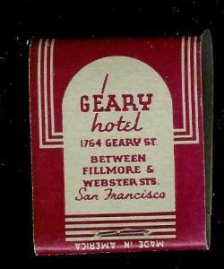 GEARY HOTEL San Fran 1940's Full Unstruck Matchbook