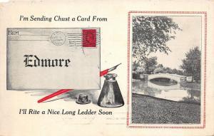 Edmore Michigan~Bridge over Water~Sending Chust A Card-Rite Letter Soon~1913